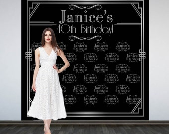 Roaring 20's Party Personalized Photo Backdrop -Art Deco Step and Repeat Photo Backdrop- Birthday Photo Booth Backdrop, Silver and Black