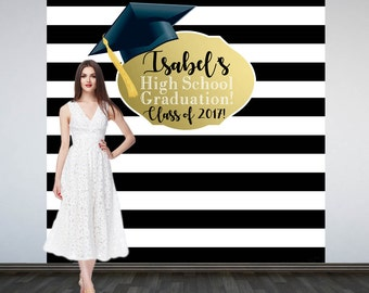 Graduation Photo Backdrop - Personalized Photo Backdrop- Class of 2017 Photo Backdrop- Black and White Stripes Photo Backdrop