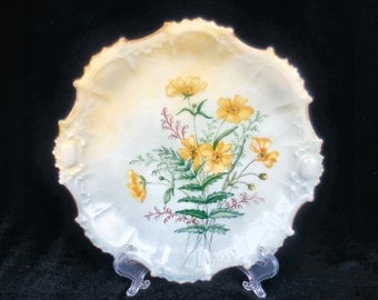 Limoges Porcelain Hand Painted Plate with Yellow Flowers circa 1890s
