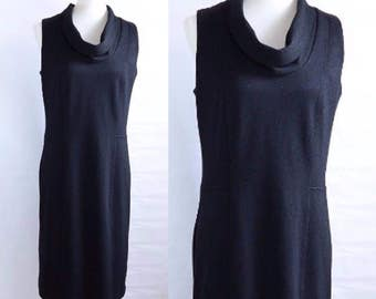 Adrienne Vittadini / Black Knit  Dress / Cowl Neck / Sleeveless / Sheath / Career / Size 6 / Little Black Dress