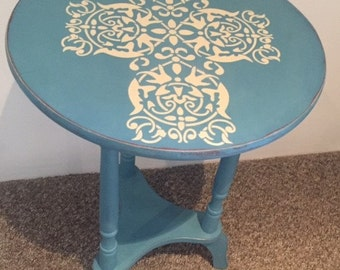 Occasional round table, with pretty stencilling and bespoke paint colour