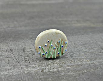 Bluebell Wood Bead, polymer clay flower bead