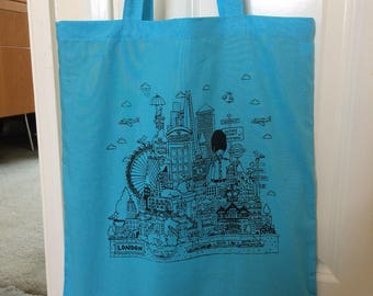 London Tote Bag pink, green, blue or black. Screen printed. 100% cotton tote bag