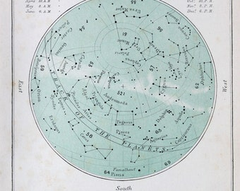 Antique Astronomy Print -  Celestial Star Chart for September, Colour Astronomical Print c. 1900
