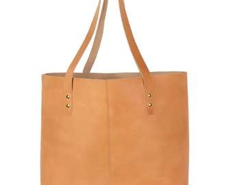 Charlotte Shopper, leather handbag light brown