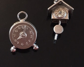 Pair of Sterling Clock Charms