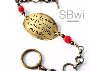 Teacher bracelet in bronze with red  detail