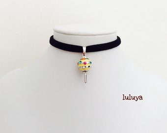 Black Handmade Stretch Choker Necklace Yellow Lollipop  Charm Gift Birthday Favor