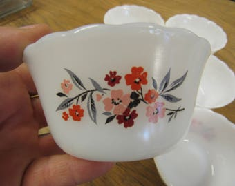 Red and White Floral FIRE KING Custard Dishes Set of 6