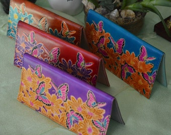 "Genuine leather checkbook cover,""the World of Flowers & Butterflies"" Pattern Embossed on the front, More Color."