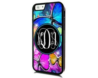 Monogrammed iPhone 7 Butterflies Case-iPhone 7 PLUS/Personalized iPhone 7- iPhone 7 PLUS Case