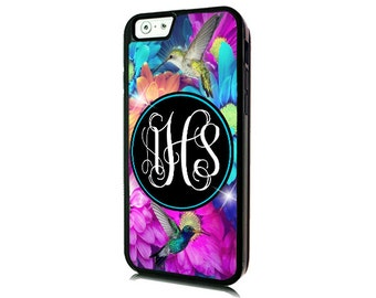 Monogrammed iPhone 7 Hummingbirds Case-iPhone 7 PLUS/Personalized iPhone 7- iPhone 7 PLUS Case