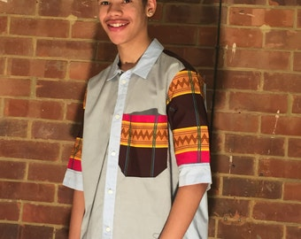 Mens upcycled shirts with african wax print
