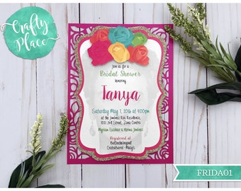 Sample - Laser cut Frida Kahlo Floral Bridal Shower invitation - Silhouette cut - Personalized - Bachelorette/Baby shower/Sweet 16/Birthday