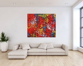 Original abstract artwork on canvas ready to hang 120x140cm #760