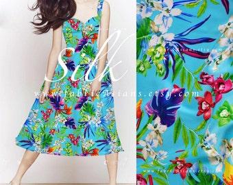Tropical Fabric Cyan Blue Silk Fabric - vente tissu hawaii
