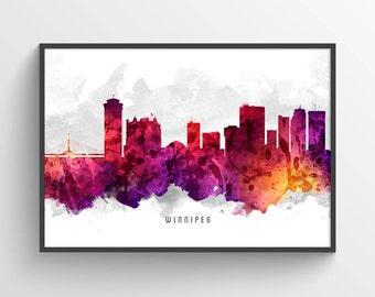 Winnipeg Poster, Winnipeg Skyline, Winnipeg Cityscape, Winnipeg Print, Winnipeg Art, Winnipeg Decor, Home Decor, Gift Idea, CAMBWI14P