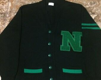 Vtg 50s 60s VARSITY Large Cardigan Sweater