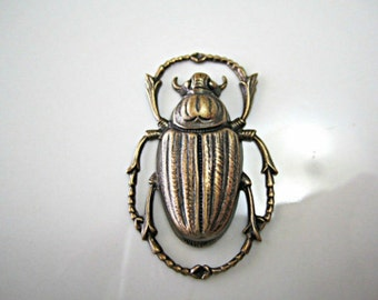 Brass Scarab Oxidized Brass Scarabs Brass Vintage Look Scarab Stamping Egyptian Revival Scarab Oxidized Scarab 43x28mm (1pc) 86V5