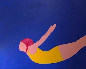 Diver Original Acrylic Painting