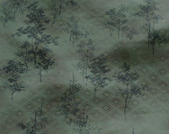 Vintage Japanese Silk Kimono Fabric Tree Silhouettes