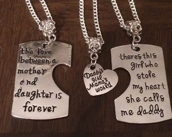 Daddy's Girl Mama's World necklace or keychains