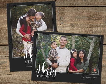 Photo Christmas Card Template - Photoshop Template - Holiday PSD Card - Digital Template for Photographers - 5x7  - INSTANT DOWNLOAD - 016