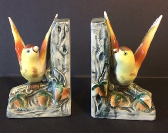 Vintage Yellow Bird Bookends - Japan