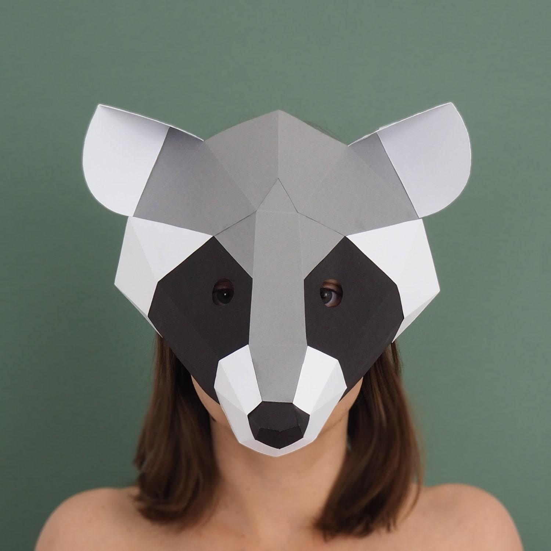 Racoon Mask DIY Costume Paper Creation PDF Pattern Printable