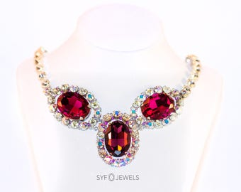 Necklace EVA in pink, violet, white and silver handmade with SwarovskiELEMENTS(R)