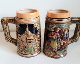Vintage Pair of Miniature Tankards Coffee cups Ceramic made in Japan
