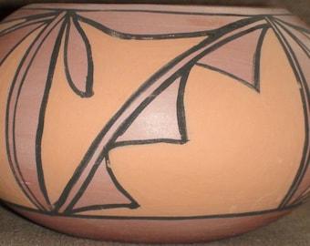 Native American Tigua Pottery Vase 4 1/2 X 2 3/4 Inches Grace Tigua