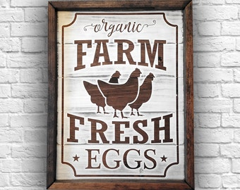 Farm Fresh Eggs Sign   Farmhouse Kitchen Sign   Chicken Eggs Sign   Farm Fresh Wood Sign   Farmhouse Wood Sign   Chicken Sign