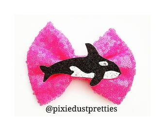 Orca Bow, shamu, sea world, pink sequin bow, sea life, shamu bow, whale bow,  whale
