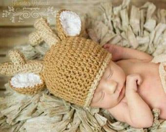 Baby Deer Hat, Baby Shower Gift Girl, Woodland Baby Shower, Baby Deer Costume, Newborn Baby Hat, Baby Photo Prop, Woodland Animals, New Baby