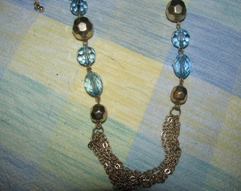 Vintage blue with gold tone necklace