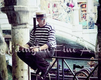Italy Travel photography, Italy photo, Venice photo, Europe photography, Gondolier, Italy, Gondola, home decor, boat, brown, Gondolier photo