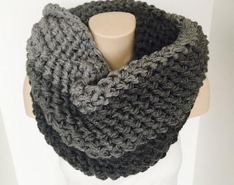 Crochet Ombre Infinity Scarf | Light to Dark Grey | iScarf v4.0