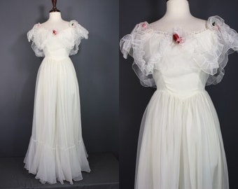 80's Prom Dress........80's White Organza Prom Dress 80's Wedding Dress 80's Bridesmaid Dress