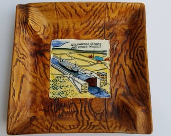 Wood Grain Ceramic Souvenir Dish or Ashtray Featuring St. Lawrence Seaway and Power Project