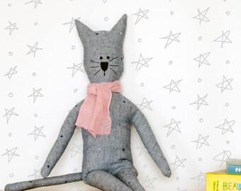 Cat Doll - Stuffed Cat - Girl Doll - Boy Doll - Rag Doll - Baby Shower Gift - Birthday Gift - Cat Lover Gift - Gender Neutral Nursery Decor