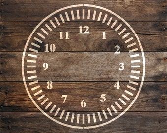 Clock  Stencil with tick marks in reusable Mylar  small to large stencil up to 26 inches.