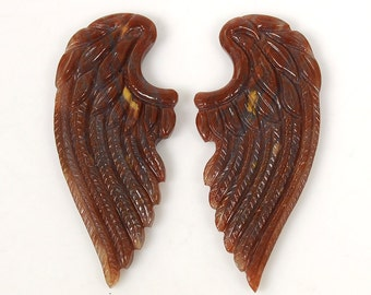 50.95cts Green Onyx Gemstone Hand Carved Slice Angel Wings 23*52mm Pair For Jewelry