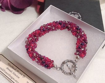 Autumn Berries Red & Purple Beaded Bracelet Handmade by Emerald Forest Designs