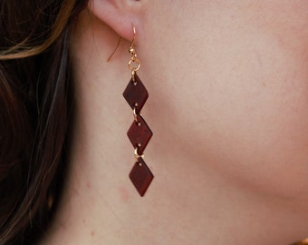 Red Heart Wood Diamond Earrings