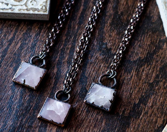 Rose Quartz Pyramid Necklace