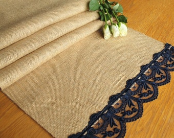Burlap and Navy Vintage style tuille lace table runners, weddings, home decor