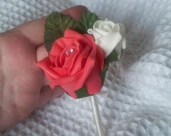 4 Double foam rose buttonholes, available most colours.