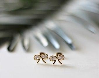 Darling Cubic Zirconia Gold Stud Earrings