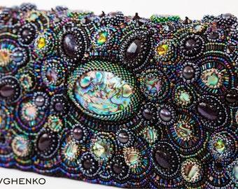 """Sale Evening clutch """"Negro de la perla"""", beadwork. evening bag"""